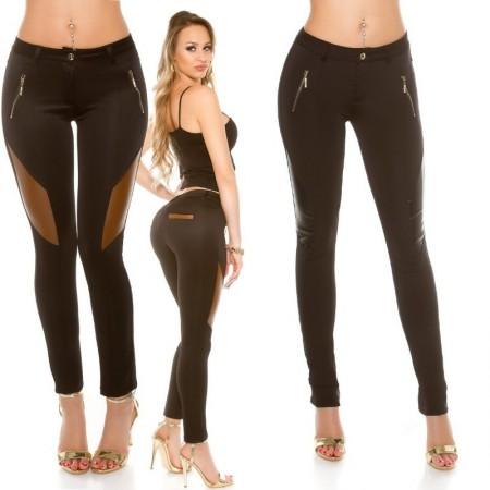 Pantacollant pantalone leggings vita bassa glamour treggings bicolor zip
