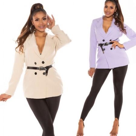 Giacca blazer con cinturino vestito dress elegante glamour doppio petto