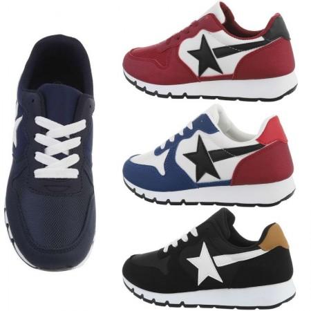 Sneakers casual in ecopelle e scamosciate da passeggio con lacci e decorazione a stella