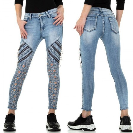 Jeans chiari elasticizzati skinny effetto push up stinti strappati con zip decorative