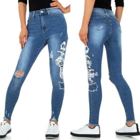 Jeans a vita alta elasticizzati effetto consumato strappati con stampa laterale