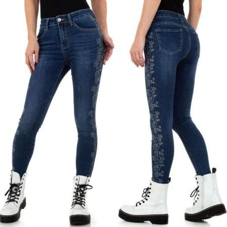 Jeans denim elasticizzati avita alta modello skinny effetto push up decorazione floreale con strass