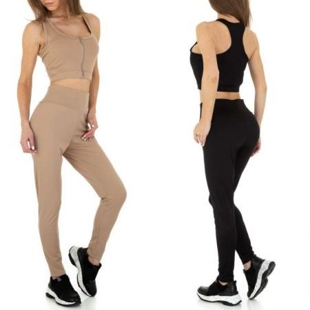 Tuta sportiva due pezzi con pantacollant a vita alta elasticizzato push up e top corto a giromanica