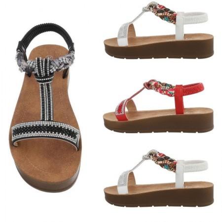 Sandali spuntati estivi aperti in ecopelle con foulard e strass intrecciati zeppa bassa platform e cinturino elasticizzato