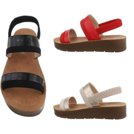 Sandali spuntati in ecopelle con cinturino elasticizzato dettagli pitonati e zeppa bassa platform
