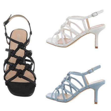 Sandali eleganti da cerimonia trama intrecciata in ecopelle con tacco medio a spillo e cinturino regolabile