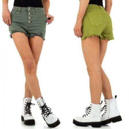 Pantaloncini di jeans shorts corti effetto push up con bordi scuciti