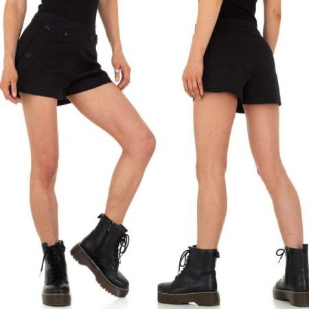Pantaloncini shorts cori neri a vita alta effetto push up con tasche e bottoni