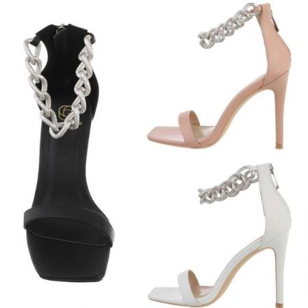 Sandali spuntati ecopelle eleganti con tacco alto a spillo catena alla caviglia e zip sul retro
