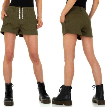 Pantaloncini cargo shorts kaki a vita alta con tasche e bottoni