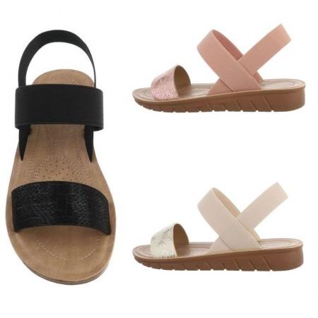 Sandali bassi ecopelle spuntati dettagli pitonati e cinturino elasticizzato