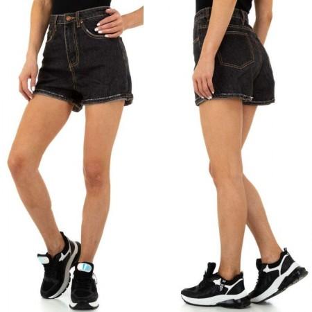 Pantaloncini di Jeans Shorts in denim scuro con bordi scuciti e vita alta