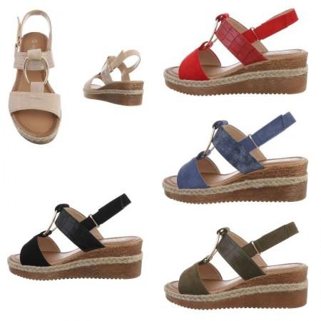 Sandali spuntati estivi in ecopelle con dettagli pitonati zeppa alta e plateau con corda decorativa e cinturino regolabile