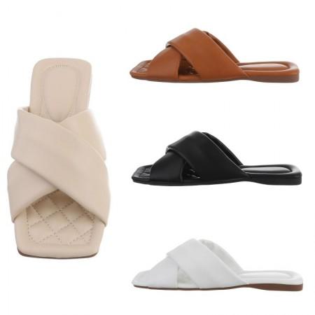Sandali bassi spuntati in ecopelle con punta quadrata ciabattine eleganti