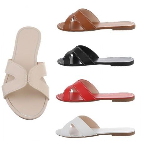 Sandali sandaletti in ecopelle con tacco basso spuntati ciabatte casual piatte flat