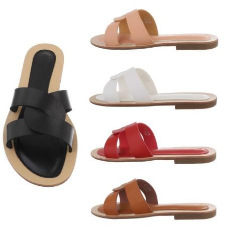 Sandali bassi intrecciati in ecopelle tacco basso piatto ciabatte casual estive