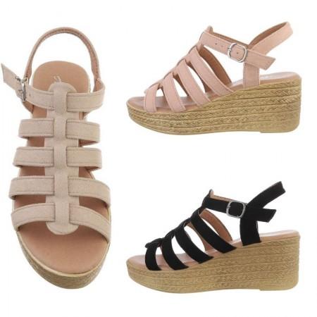 Sandali spuntati aperti con zeppa e plateau in corda e cinturino regolabile