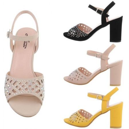 Sandali in simil cuoio traforati tacco alto largo a blocco strass e brillantini cinturino regolabile