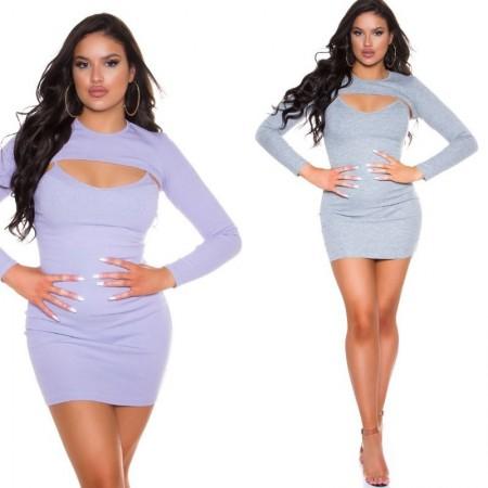 Abito vestito minidress tubino corto maniche lunghe glamour pastello lilla