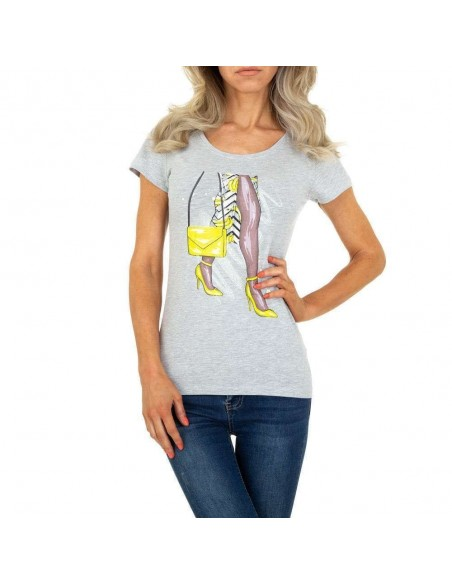 Maglia maglietta t-shirt estiva mezze maniche con stampa e scollo tondo