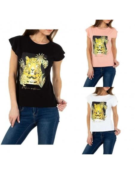 Maglia t-shirt estiva con mezze maniche svasate e stampa animalier