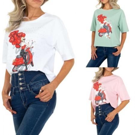 Maglia estiva con scollo a giro stampa vintage mezze maniche t-shirt larga