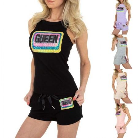 Completo sportivo corto con shorts e top a giromaniche decorazioni con paillettes colorate
