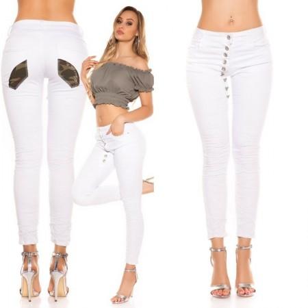 Jeans pantalone pantacollant denim vita bassa bianco militare skinny