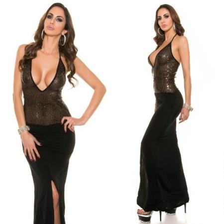 Abito cerimonia tubino dress completo elegante pailetes lungo nero glamour