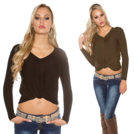 Maglione pullover maglia maglietta crop corta basic nero bianco glamour