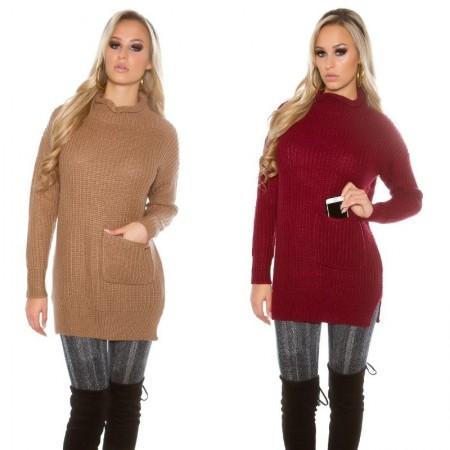 Maglione pullover caldo oversize lungo dolcevita collo alto con tasche