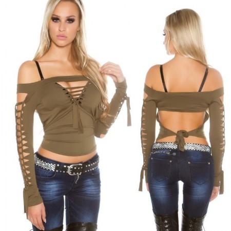 Maglia maglietta top maniche lunghe fine spalle scoperte basic nero