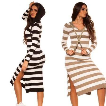 Abito in maglia dress vestito tubino maglione lungo oversize nero felpa