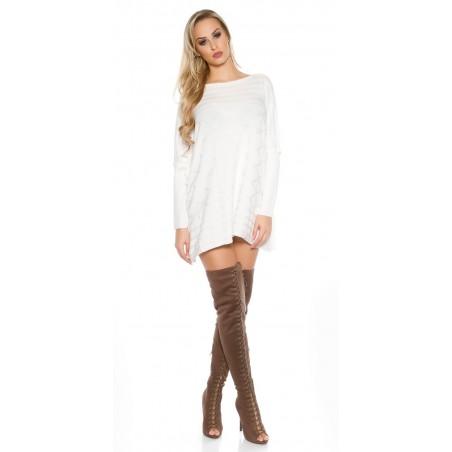 Abito vestito tubino in maglia inverno maglione lungo pullover oversize