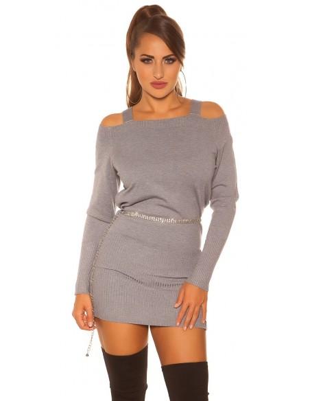 Abito vestito tubino in maglia inverno maglione lungo pullover glamour