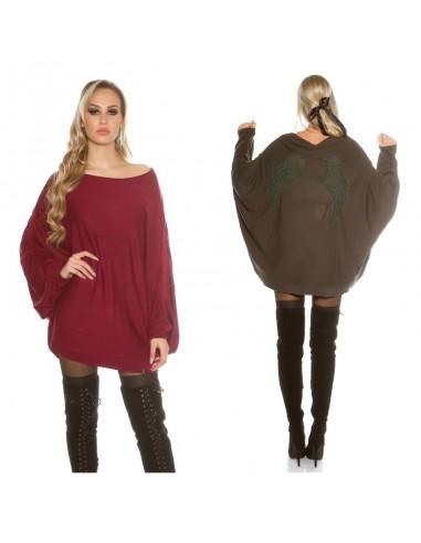 Maglione pullover felpa oversize lungo vestito dress mantella xl glamour