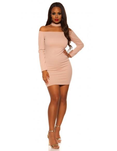 Abito vestito tubino minidress elegante basic rosa corto glamour koucla