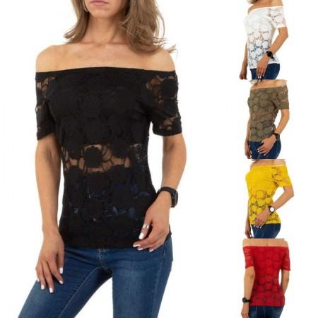 Maglia t-shirt mezze maniche scollo a barca spalle scoperte in velo trasparente