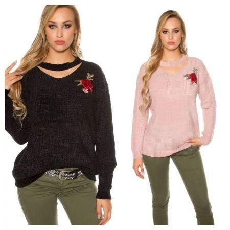 Maglione maglia maglietta pullover maniche lunghe inverno over size glamour