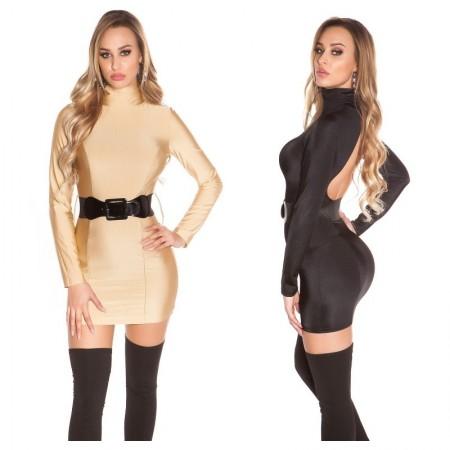 Abito donna completo tubino oro elegante glamour party vestito dress mini