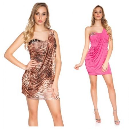 Abito vestito tubino minidress corto a fascia elegante cerimonia leopardato