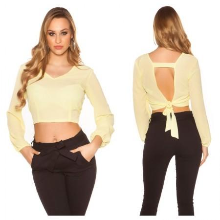 Camicia maglia maglietta blouse maniche lunghe glamour chiffon nero