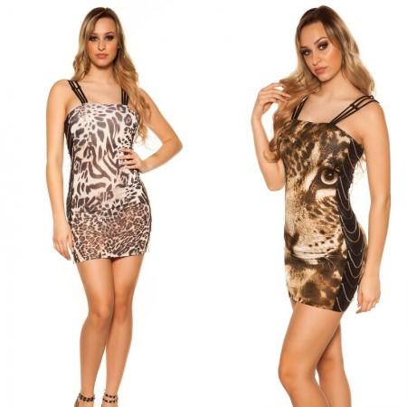 Abito tubino minidress vestito completo leopardato animalier corto party
