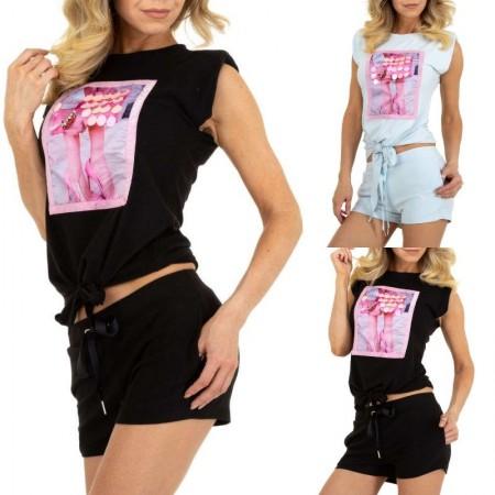 Tuta tutina corta due pezzi sportiva casual con shorts e maglia top annodata con giromaniche e stampa