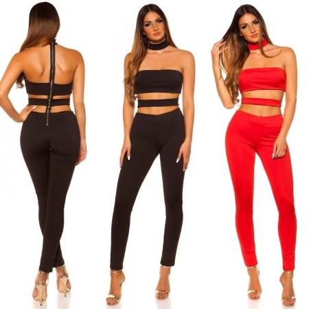 Completo overall jumpsuit tuta intera pantalone a fascia rosso elegante
