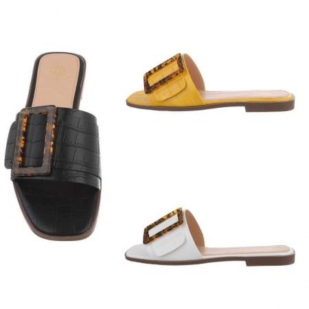 Ciabatte spuntate sandali in ecopelle pitonata con fibbia e tacco basso