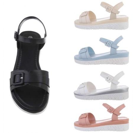 Sandali spuntati in ecopelle con fibbia zeppa bassa comoda e cinturino alla caviglia regolabile