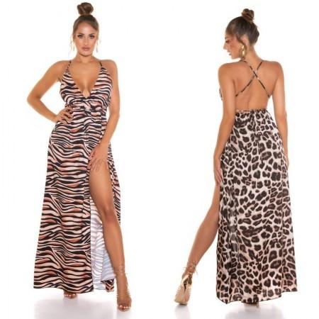 Abito dress vestito tubino xl lungo oversize leopardato con spacco