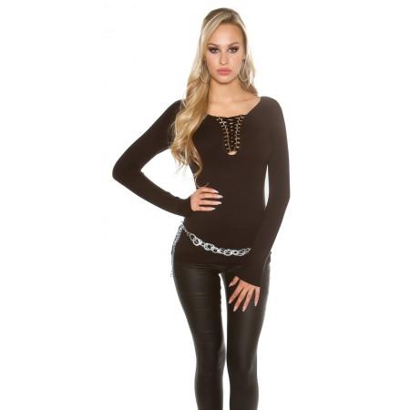 Maglia maglietta maglione pullover a coste slim fit glamour basic nero