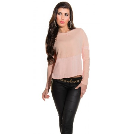 Maglia maglietta maniche lunghe chiffon blusa camicia elegante basic